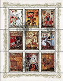 postage stamp/ DPR KOREA - CIRCA 1984: mail stamp printed in DPR Korea featuring German monarchy: Conrad III, Henry VIII, Henry VI, King Johann, Elizabeth I, Charles VII and other antique reproduction poster