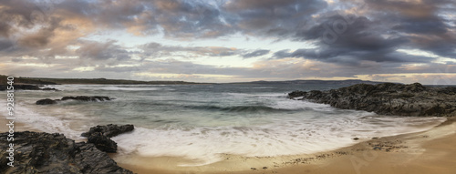 Beautiful sunrise landscape of Godrevy on Cornwall coastline in