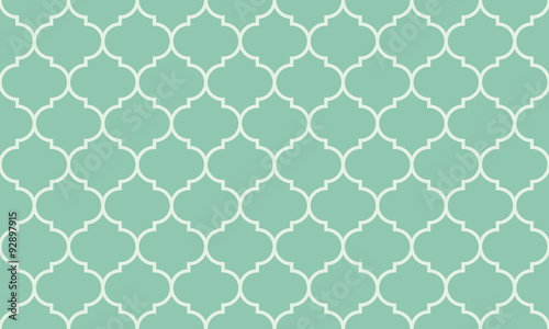 Fototapeta Seamless turquoise wide moroccan pattern vector