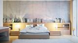 Fototapety modern hotelroom with conrete wall - modernes Hotelzimmer