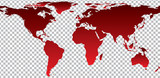 Red map of world on transparent background