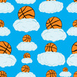 Постер, плакат: Seamless basketballs on clouds