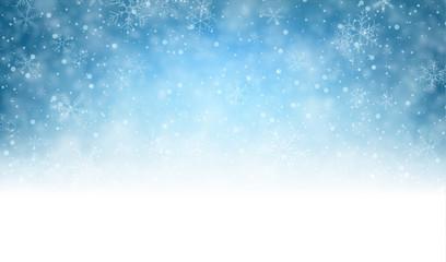 Bożenarodzeniowy błękitny tło z śniegiem.