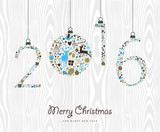Fototapety Merry Christmas Happy new year 2016 retro ornament