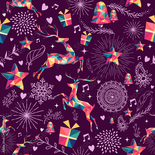Cotton fabric Christmas triangle deer hipster seamless pattern