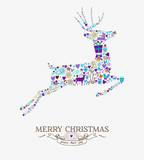Merry christmas reindeer vintage retro elements card
