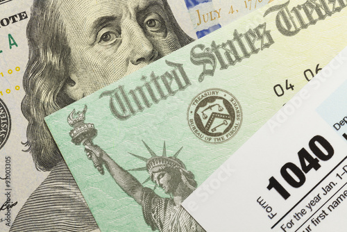 US Federal Taxes Form and Money