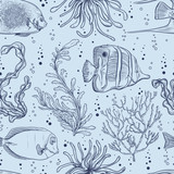 Seamless pattern with tropical fish, marine plants and seaweed. Vintage hand drawn vector illustration marine life. Design for summer beach, decorations,print,pattern fill, web surface background