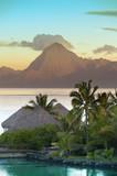 Sunset over the sea and mountains,  Tahiti... - 93008991