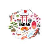Watercolor set of Japan.