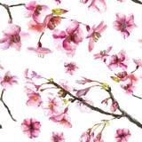 Fototapety Hand Drawn Cherry Blossoms seamless pattern.