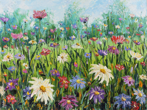 Obraz na Szkle Summer wild flowers, oil painting