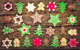 Christmas cookies on the wooden background  - Fine Art prints