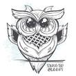 Постер, плакат: Owl outline vector illustration time to sleep