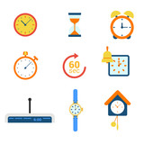 Time flat vector web icons: clock alarm watch timer hourglass
