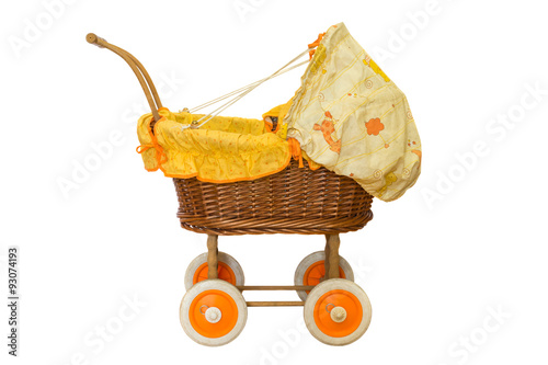 Poster wooden baby stroller isolated on white background