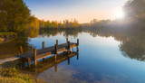 Wooden Jetty on a Becalmed Lake at Sunset - Fine Art prints
