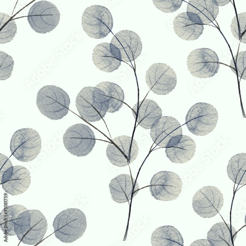 Cotton fabric Branches with round leathes. Watercolor background. Seamless pattern 5