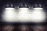 Fototapety Room with three spotlight lamps