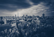 Tokyo city view and Tokyo Tower in dark tone