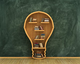 Fototapety Concept of idea. Bookshelf full of books in form of bulb with co