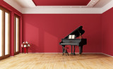 Red room with grand piano