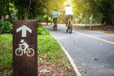 Fototapety Bicycle sign, Bicycle Lane in public park