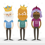 Fototapety the three hipsters kings of orient on a white background. Trendy print design