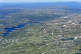 panoramatický pohled z hory gaustatoppen na slunné letní den