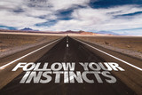 Follow Your Instincts written on desert road poster