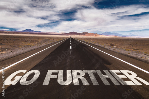 Go Further written on desert road Poster