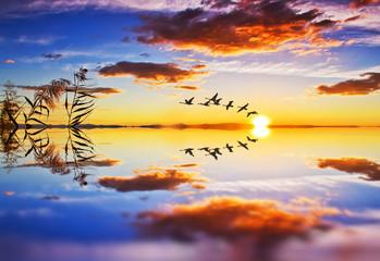nubes reflejadas en el agua del lago © kesipun