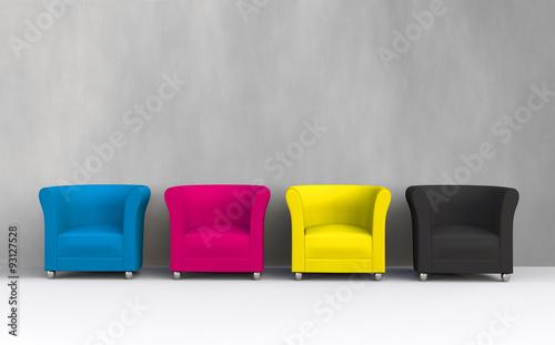 Plakat 3D CMYK chairs