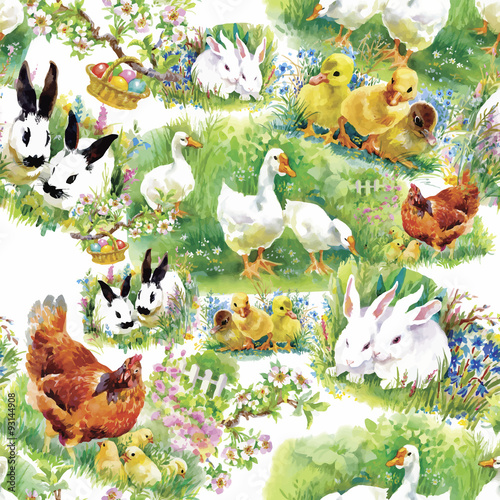 Little fluffy cute watercolor ducklings, chickens and hares with - 93144908