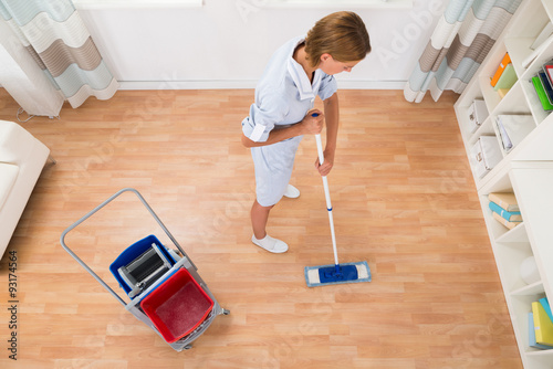 Poster Female Cleaner Cleaning With Mop