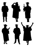 Vector Of Graduate Students Silhouettes
