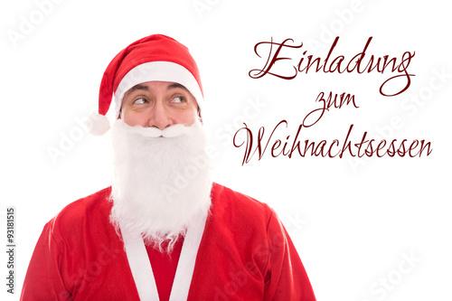 ... : Weihnachtsmann schaut auf Text Einladung zum Weihnachtsessen, fr