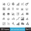 Set of SEO and Analytics icon isolated on white background vecto