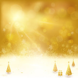 Golden Christmas background with Christmas tree and present