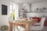 Esszimmer mit einem gedeckten Frühstückstisch in einer modernen Küche - 93197756