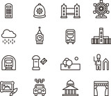 Fototapety LONDON outline icons