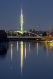 Midland canal and Telemax tower in Hannover at evening. poster