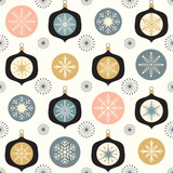 Fototapety Christmas seamless pattern with ornaments