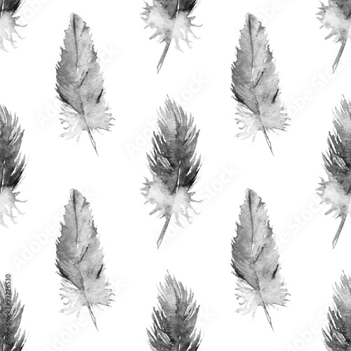 Watercolor monochrome parrot feather isolated pattern background - 93226530