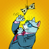 Fototapety Business cat and money