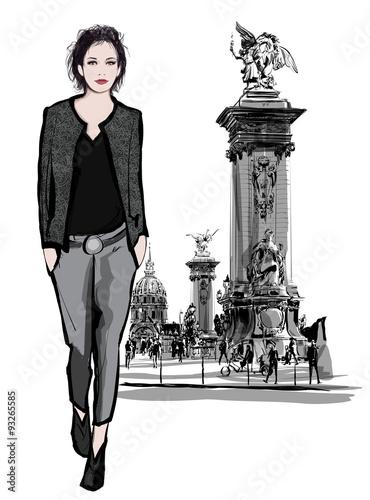 In de dag Art Studio woman walking on Alexandre III Bridge