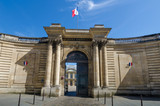 The French flag flies above the entrance to the National Archives, created at the time of the French Revolution in 1790 and is one of the largest and most important archival collections in the world. - 93268160
