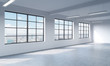 Loft style open space can be used wether office space or residential one. 3D rendering. Huge windows. White walls. New York City view.