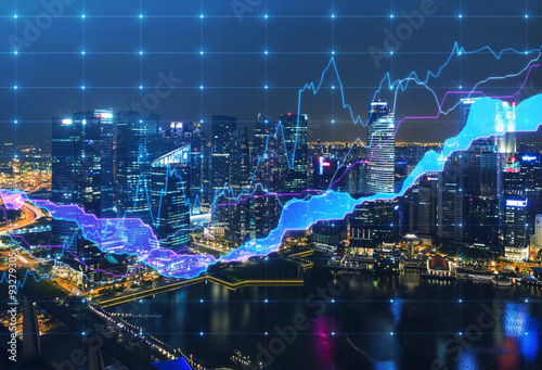 Panoramic evening New York view with the digital financial chart. A concept of the professional financial services.