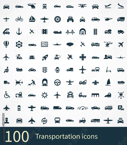 Sticker transportation 100 icons universal set